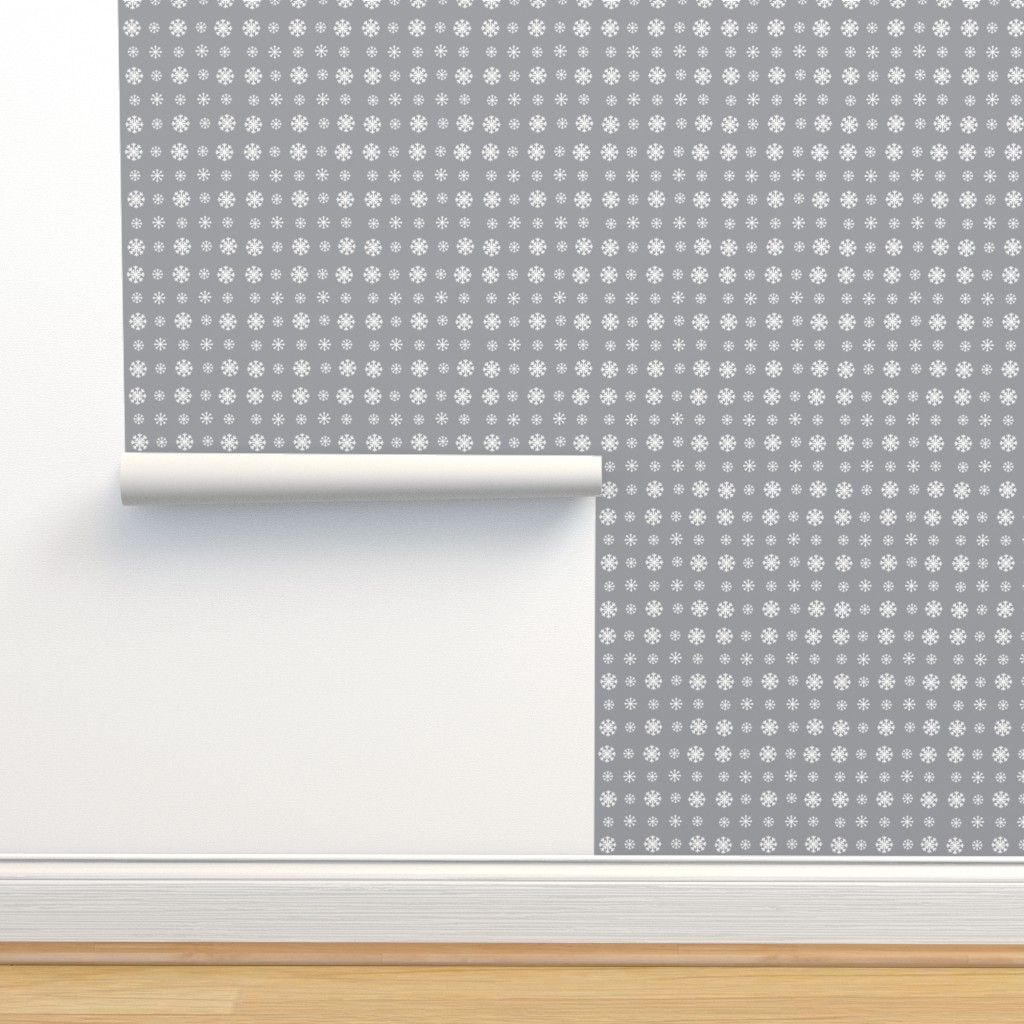 Isobar Durable Wallpaper featuring Snowflakes -gray  white by drapestudio