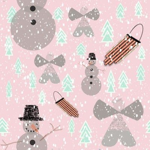 Snow angels, Snowmen, and Sleds