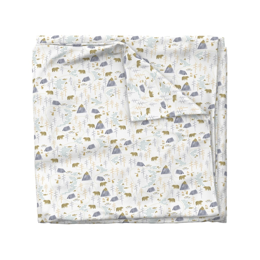Wyandotte Duvet Cover featuring In the Woods - Small Scale by papercanoefabricshop