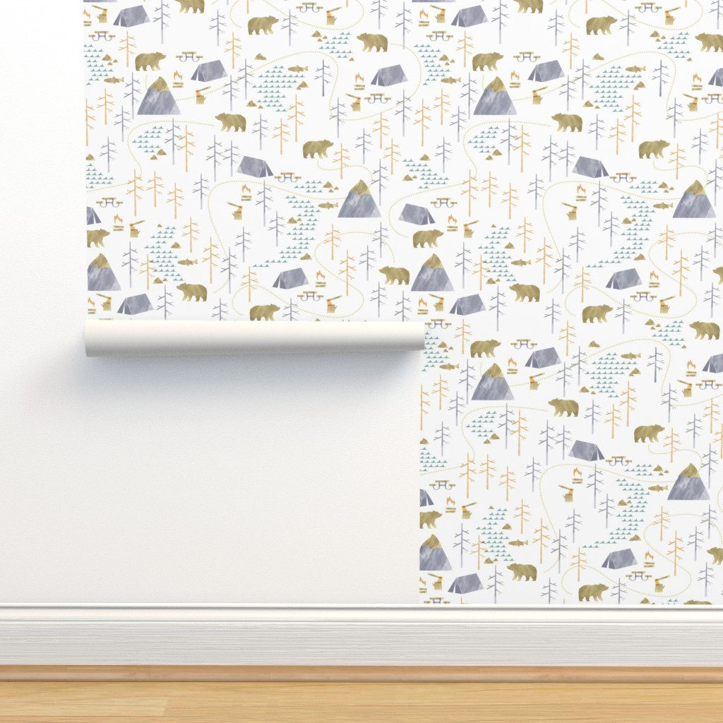 Isobar Durable Wallpaper featuring In the Woods - Small Scale by papercanoefabricshop