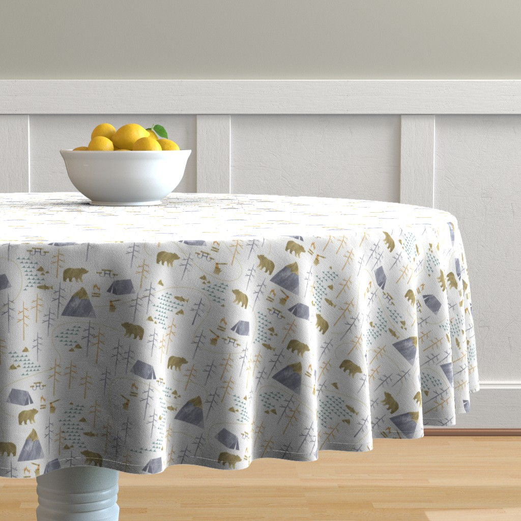 Malay Round Tablecloth featuring In the Woods - Small Scale by papercanoefabricshop