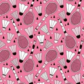 Cool tennis and badminton racket fun retro vintage sports theme in pink