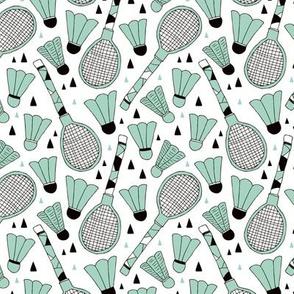 Cool tennis and badminton racket fun retro vintage sports theme in mint