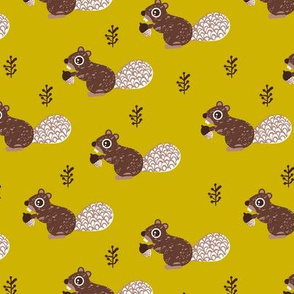 Cute woodland squirrel cute forest animals for fall and winter ochre
