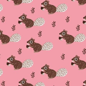 Cute woodland squirrel cute forest animals for fall and winter pink