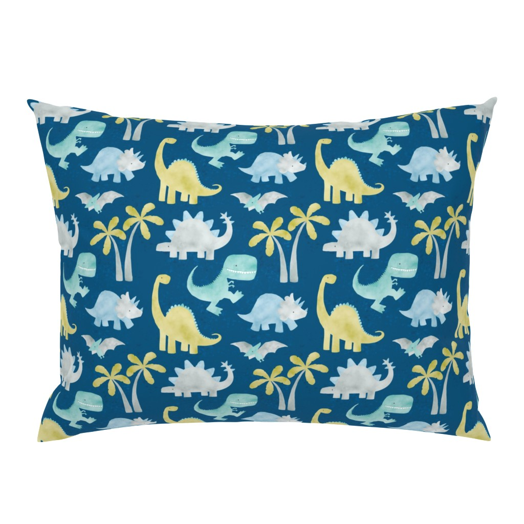 Campine Pillow Sham featuring Watercolor Dino - Blue by nick_neuman