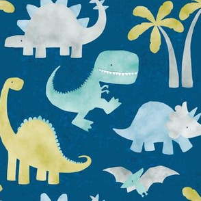 Watercolor Dino - Blue