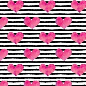 watercolor hearts || stripes