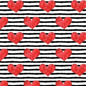 watercolor hearts - red || stripes