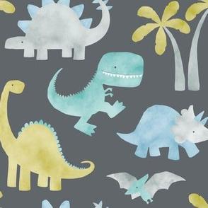 Watercolor Dino - Grey
