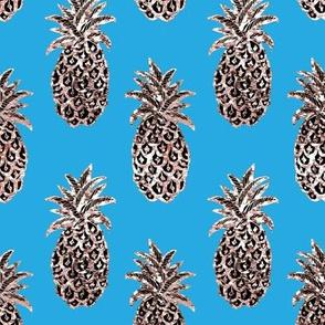Pineapples, Ocean Blue & gold