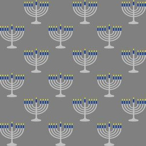One Inch Matte Silver and Blue Menorahs on Medium Gray