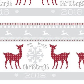 first christmas 2018 -  7 - berry deer snowflakes - mist
