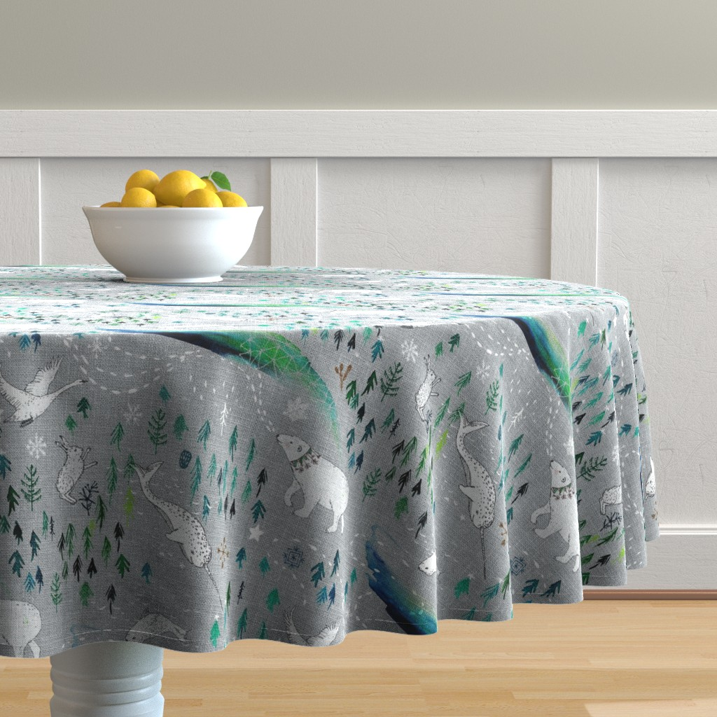 Malay Round Tablecloth featuring Arctic Song  by nouveau_bohemian