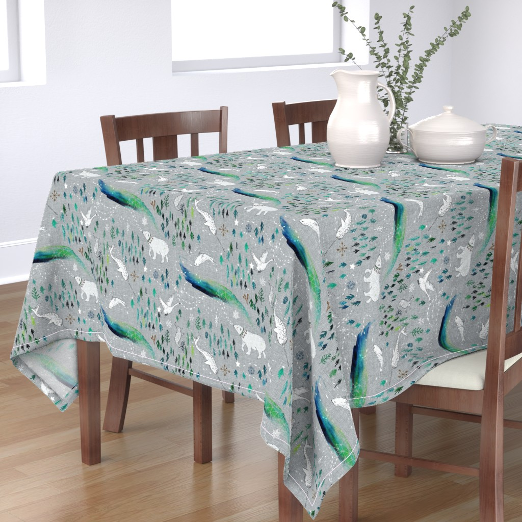 Bantam Rectangular Tablecloth featuring Arctic Song  by nouveau_bohemian