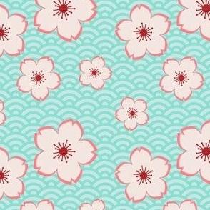 Sakura on Waves - Peach & Teal