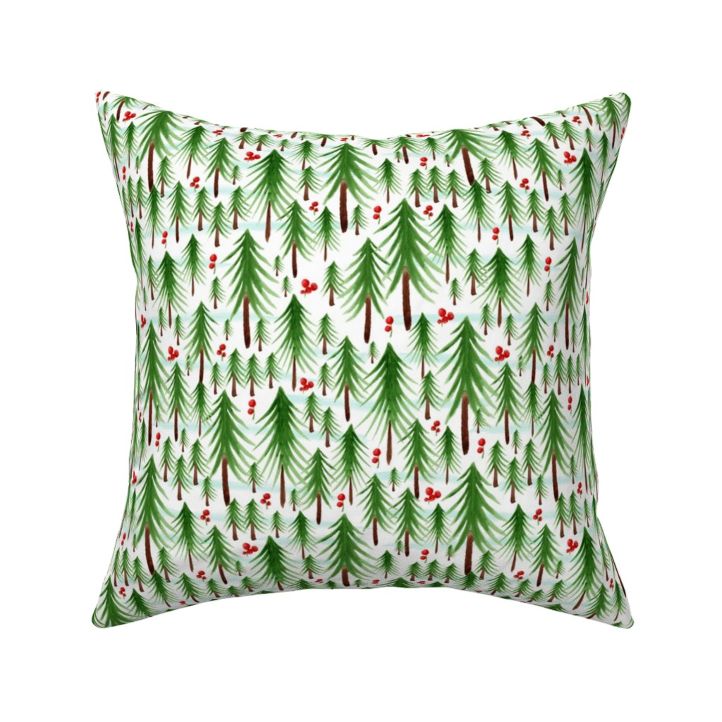 Catalan Throw Pillow featuring Christmas Tree Farm - Watercolor Winter Forest by heatherdutton