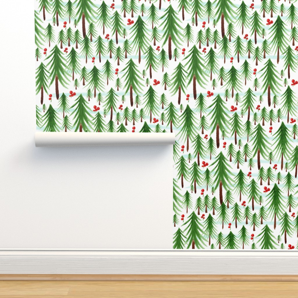Isobar Durable Wallpaper featuring Christmas Tree Farm - Watercolor Winter Forest by heatherdutton
