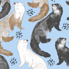 Cascading Ferrets - large blue