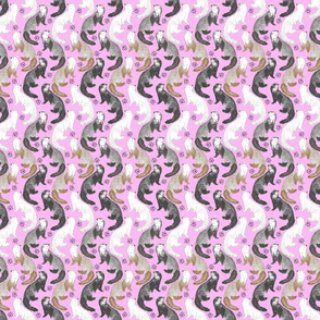 Cascading Ferrets - small pink