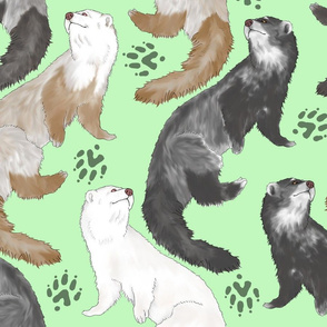 Cascading Ferrets - large green