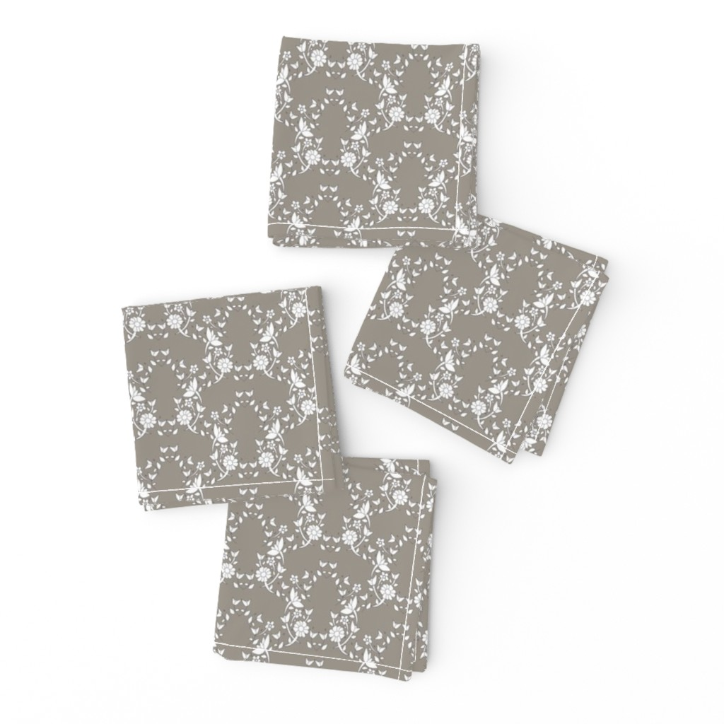 Frizzle Cocktail Napkins featuring Taupe Floral Lattice by colettegorgas
