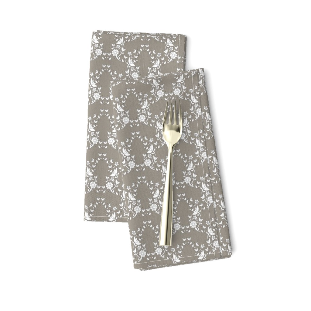 Amarela Dinner Napkins featuring Taupe Floral Lattice by colettegorgas