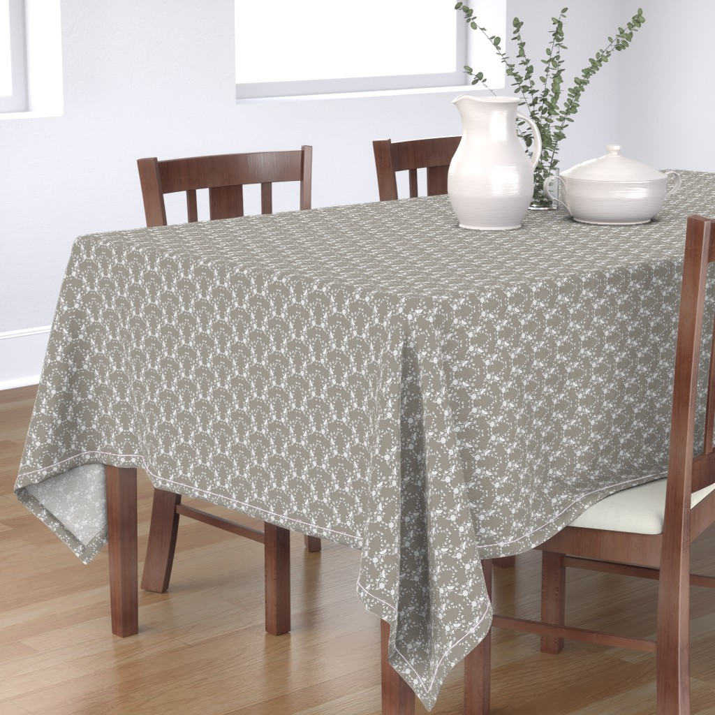 Bantam Rectangular Tablecloth featuring Taupe Floral Lattice by colettegorgas