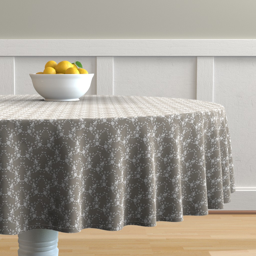 Malay Round Tablecloth featuring Taupe Floral Lattice by colettegorgas