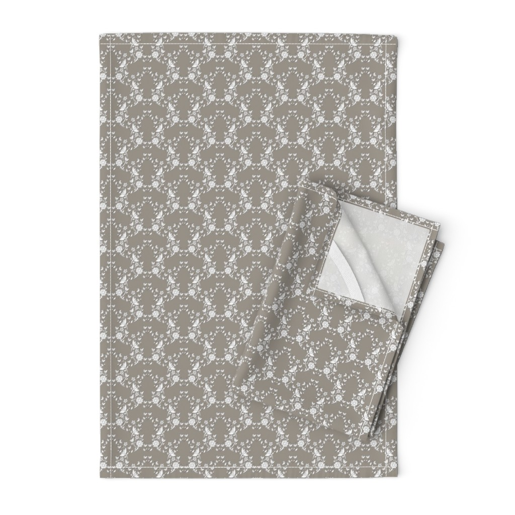 Orpington Tea Towels featuring Taupe Floral Lattice by colettegorgas