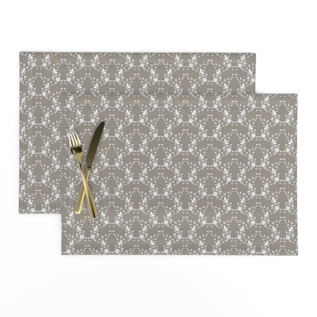 Lamona Cloth Placemats featuring Taupe Floral Lattice by colettegorgas