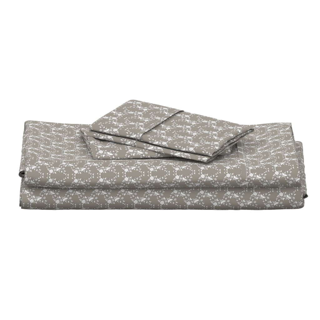 Langshan Full Bed Set featuring Taupe Floral Lattice by colettegorgas