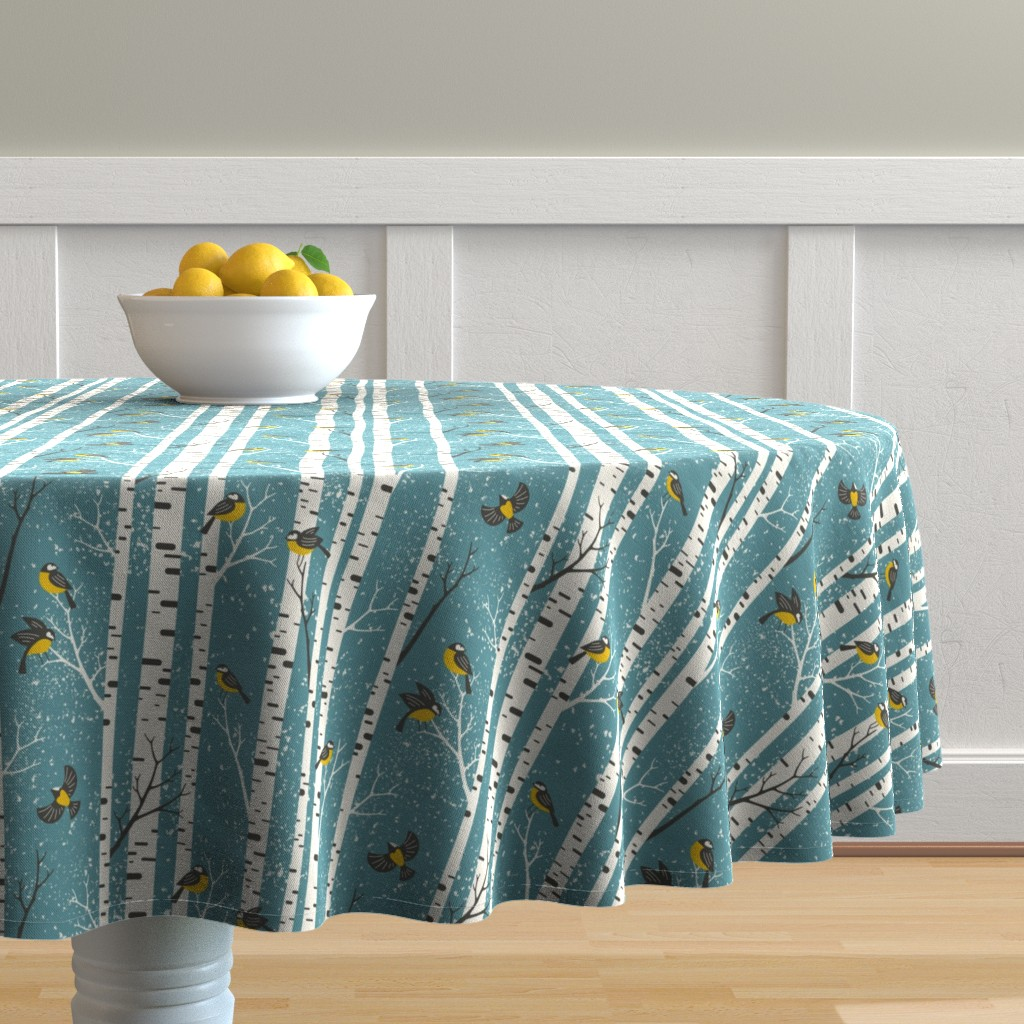 Malay Round Tablecloth featuring snowy morning - light teal  by mirabelleprint