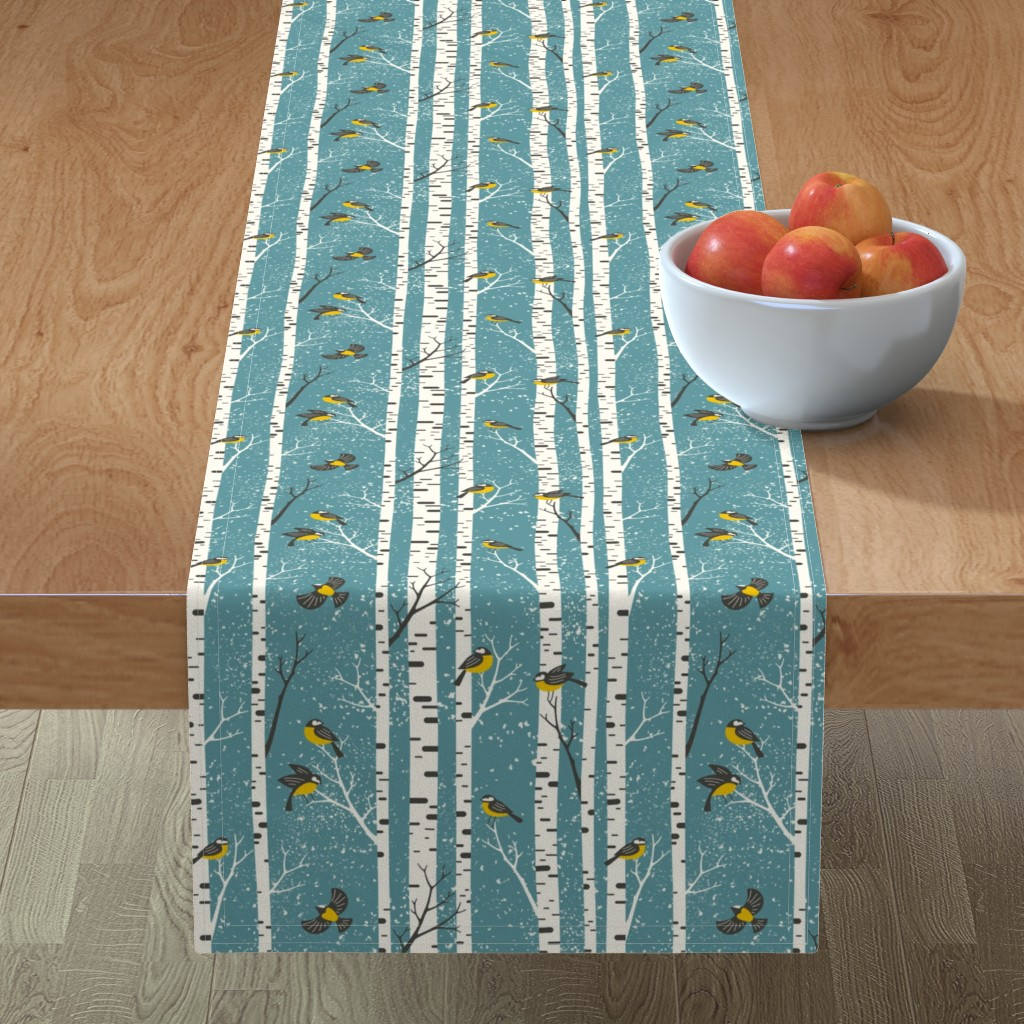 Minorca Table Runner featuring snowy morning - light teal  by mirabelleprint
