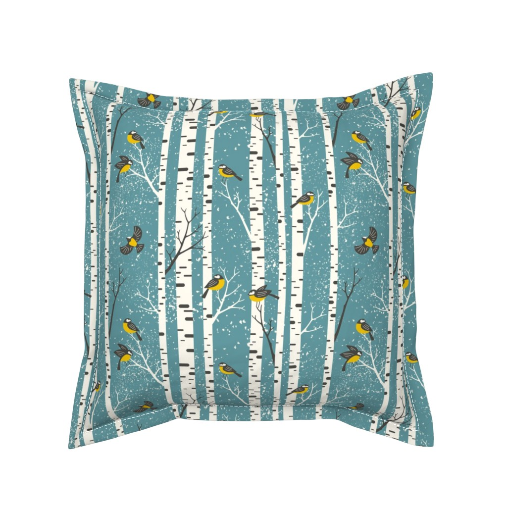 Serama Throw Pillow featuring snowy morning - light teal  by mirabelleprint