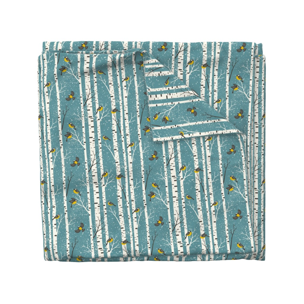 Wyandotte Duvet Cover featuring snowy morning - light teal  by mirabelleprint
