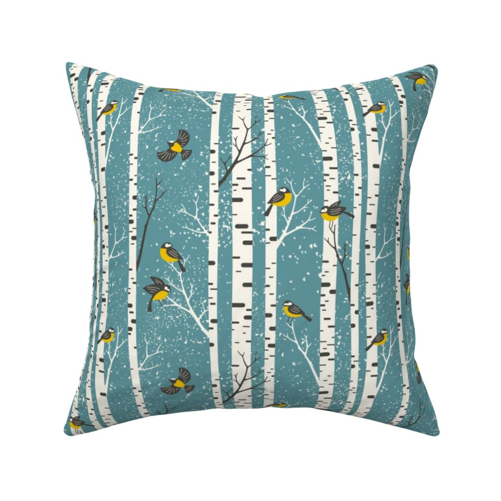 Catalan Throw Pillow featuring snowy morning - light teal  by mirabelleprint