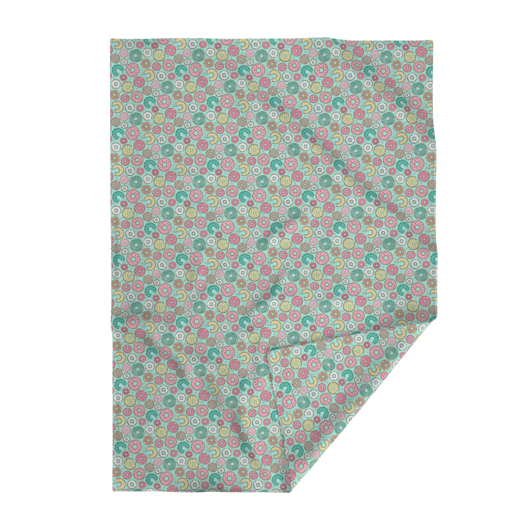 Lakenvelder Throw Blanket featuring Donuts with Hearts Yellow, Green, Pink and Chocolate on Mint by caja_design