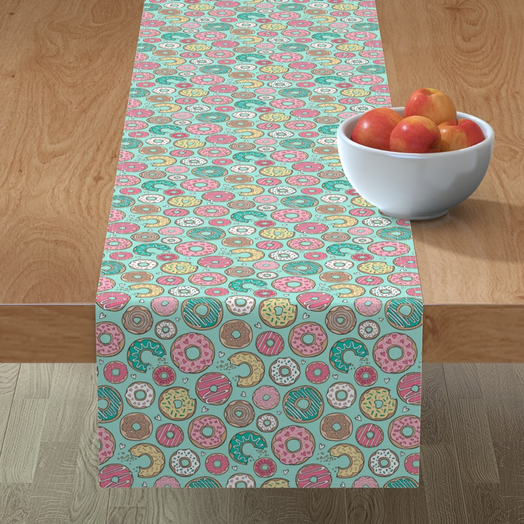 Minorca Table Runner featuring Donuts with Hearts Yellow, Green, Pink and Chocolate on Mint by caja_design
