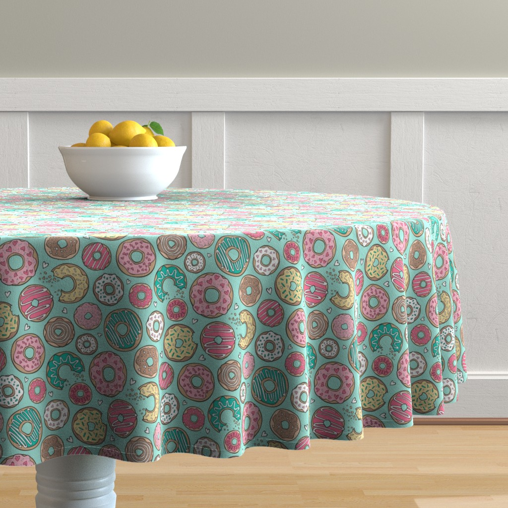 Malay Round Tablecloth featuring Donuts with Hearts Yellow, Green, Pink and Chocolate on Mint by caja_design