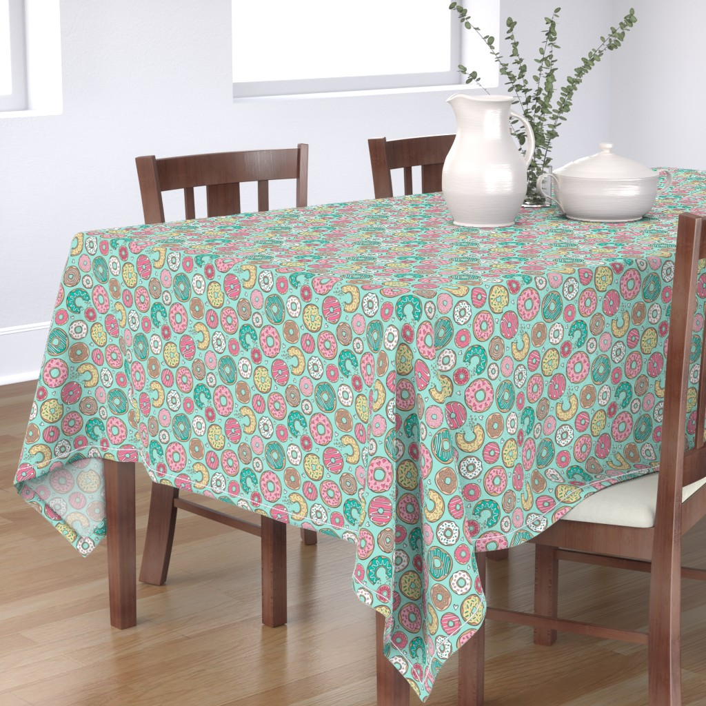 Bantam Rectangular Tablecloth featuring Donuts with Hearts Yellow, Green, Pink and Chocolate on Mint by caja_design