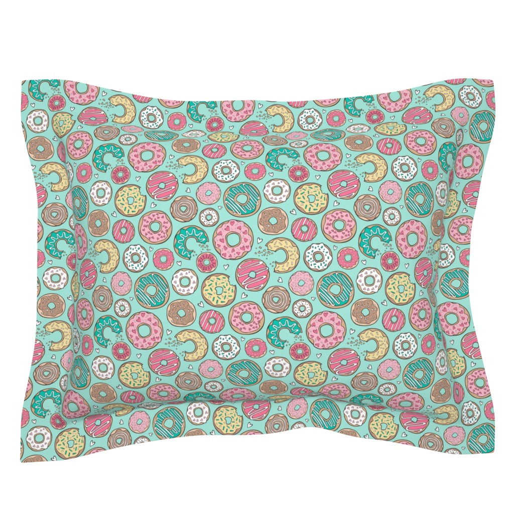 Sebright Pillow Sham featuring Donuts with Hearts Yellow, Green, Pink and Chocolate on Mint by caja_design