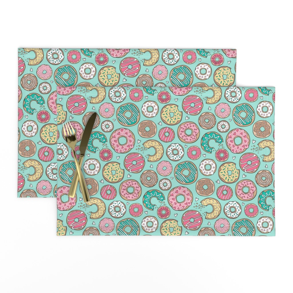 Lamona Cloth Placemats featuring Donuts with Hearts Yellow, Green, Pink and Chocolate on Mint by caja_design