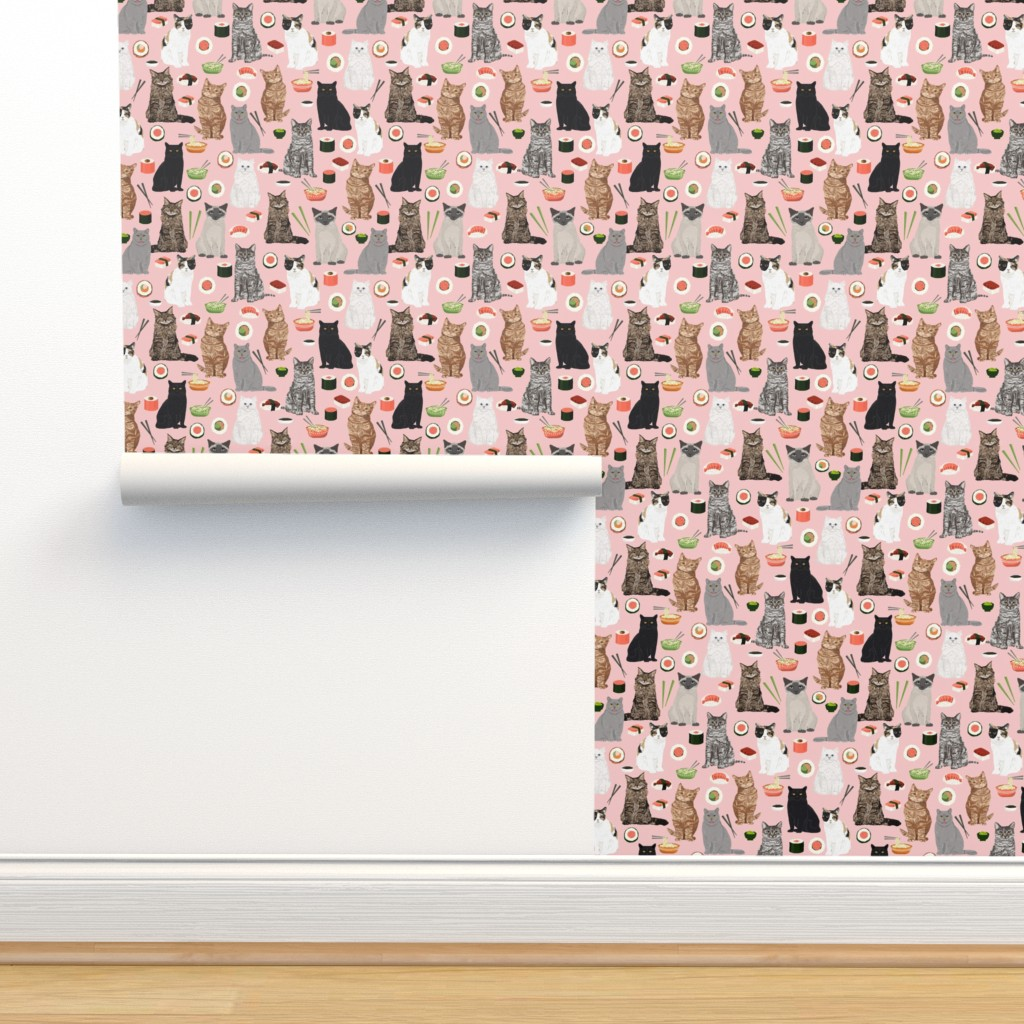 Cat Sushi Fabric Cute Kawaii Cat On Isobar By Petfriendly