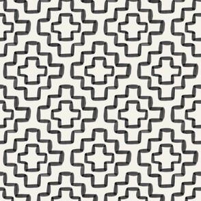 Black watercolor geometric - 6 inch repeat - Cream background