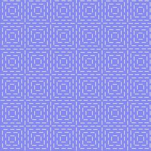 faux sashiko squares on periwinkle