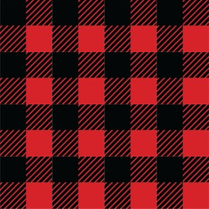 Buffalo plaid - 1 inch - Red & Black