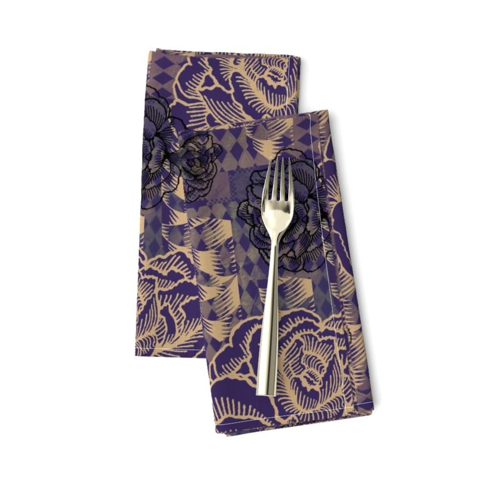 Amarela Dinner Napkins featuring rose spindle - deep purple by cinneworthington