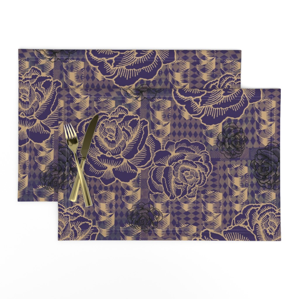 Lamona Cloth Placemats featuring rose spindle - deep purple by cinneworthington