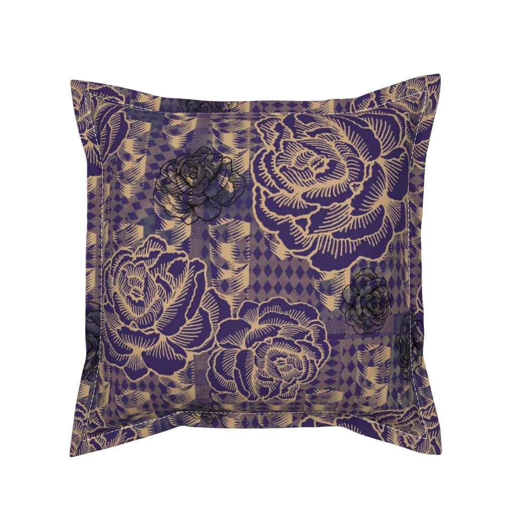 Serama Throw Pillow featuring rose spindle - deep purple by cinneworthington